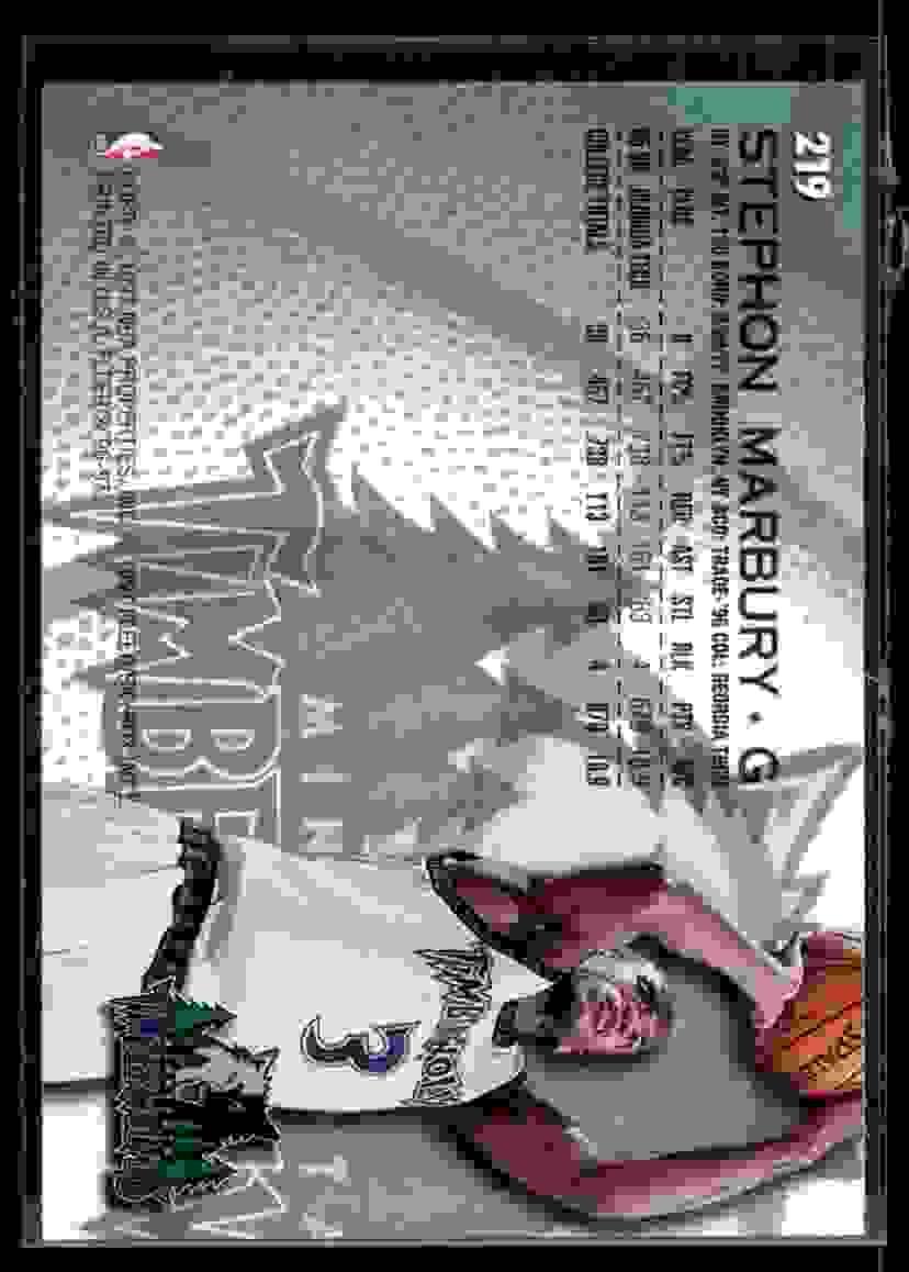 1996-97 Fleer Stephon Marbury RC #219 card back image