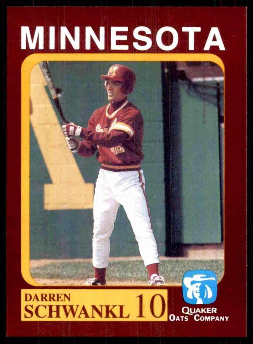 1992 Quaker Oats Minnesota Golden Gophers Darren Schwankl #10 card front image