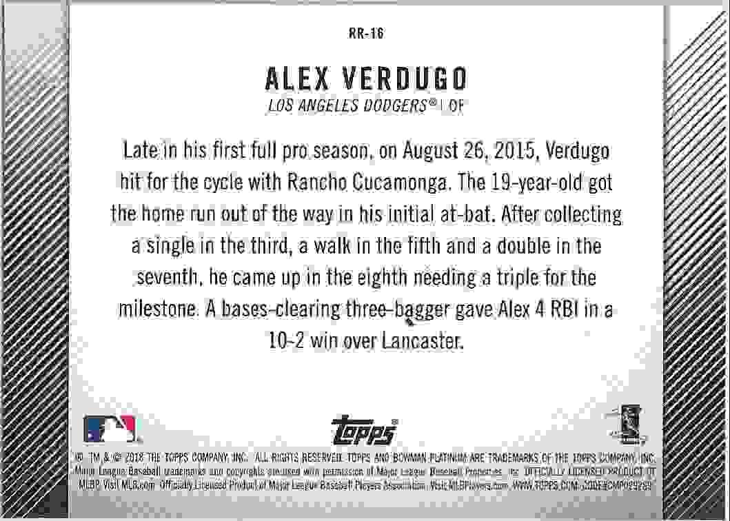 2018 Bowman Platinum Rookie Revelations Alex Verdugo #RR-16 card back image