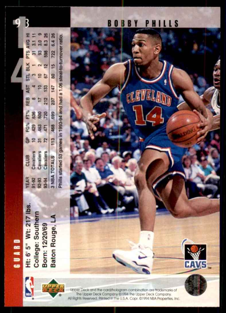 1994-95 Upper Deck Bobby Phills #93 card back image