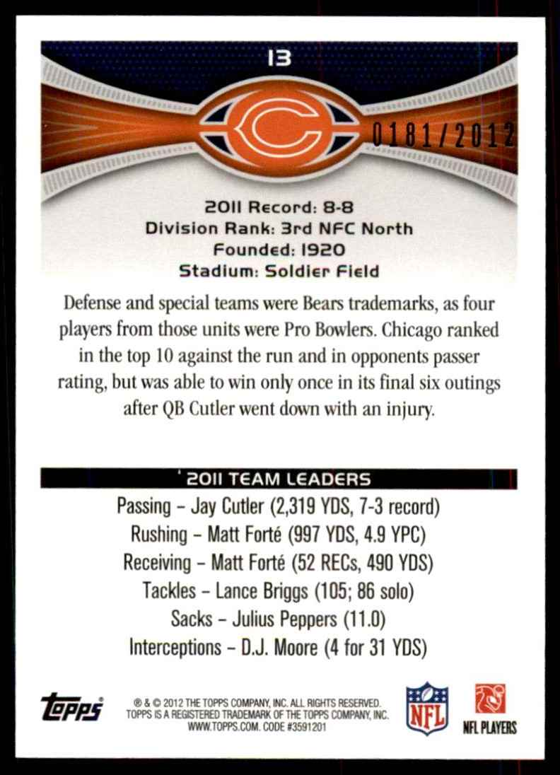 2012 Topps Gold Chicago Bears/Jay Cutler/Matt Forte #13 card back image