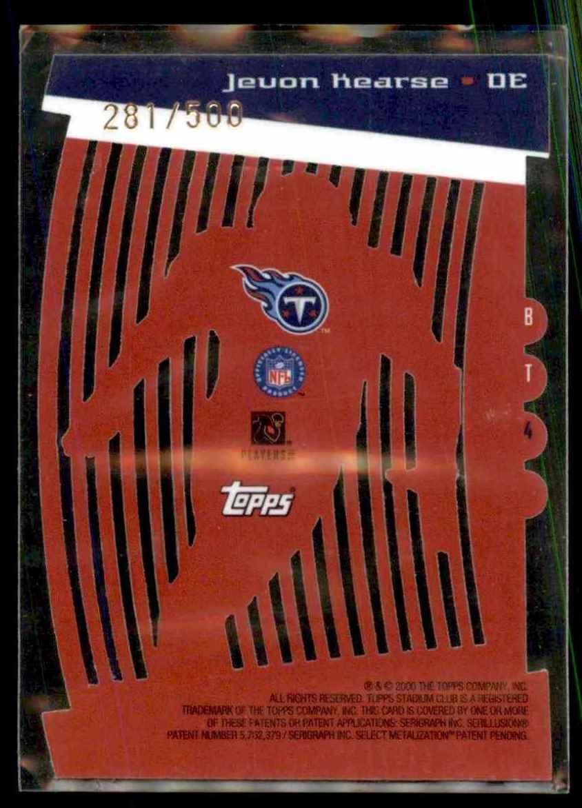 2000 Stadium Club Beam Team Jevon Kearse #BT4 card back image