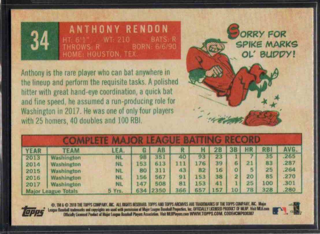 2018 Topps Archives Anthony Rendon #34 card back image