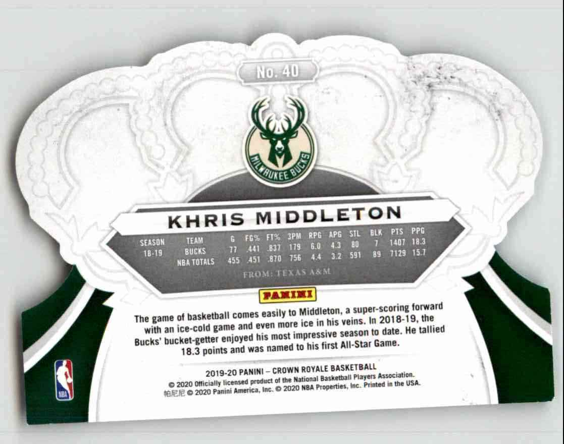 2019-20 Crown Royale Khris Middleton #40 card back image