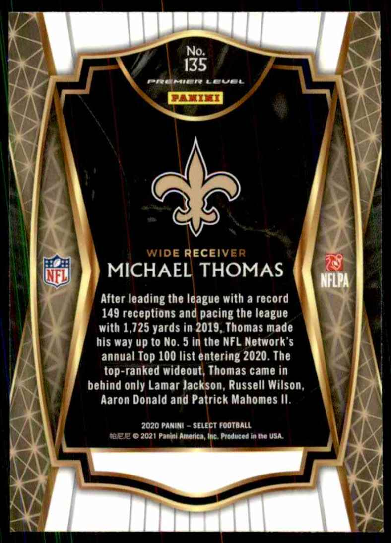 2020 Select Michael Thomas #135 card back image