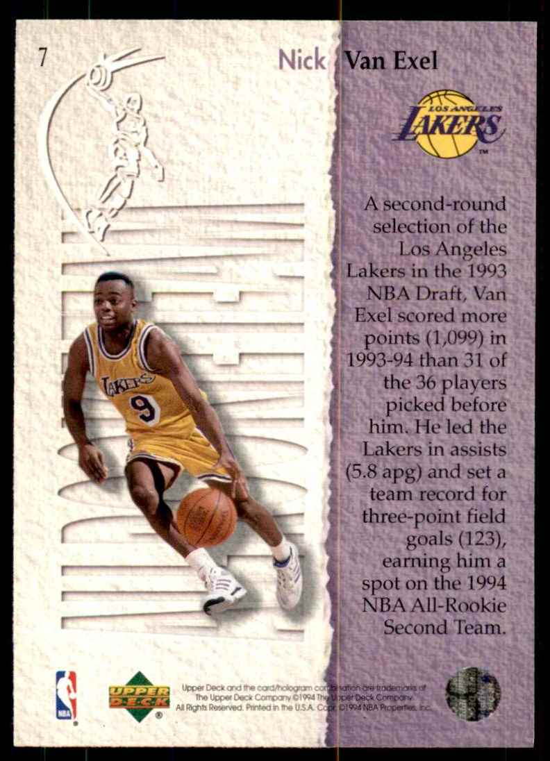1994-95 Upper Deck Nick Van Exel Art #7 card back image