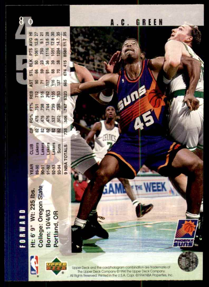 1994-95 Upper Deck A.C. Green #80 card back image