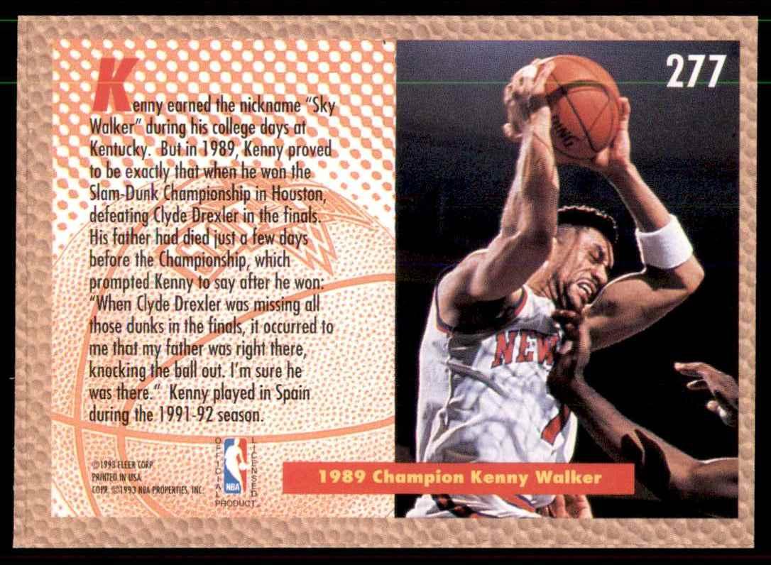 1992-93 Fleer Kenny Walker Sd #277 card back image