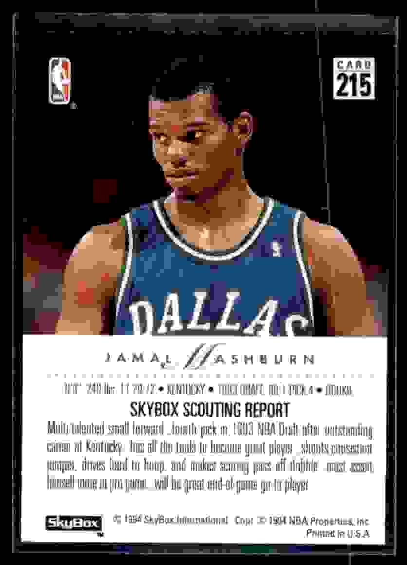 1993-94 Skybox Premium Jamal Mashburn RC #215 card back image