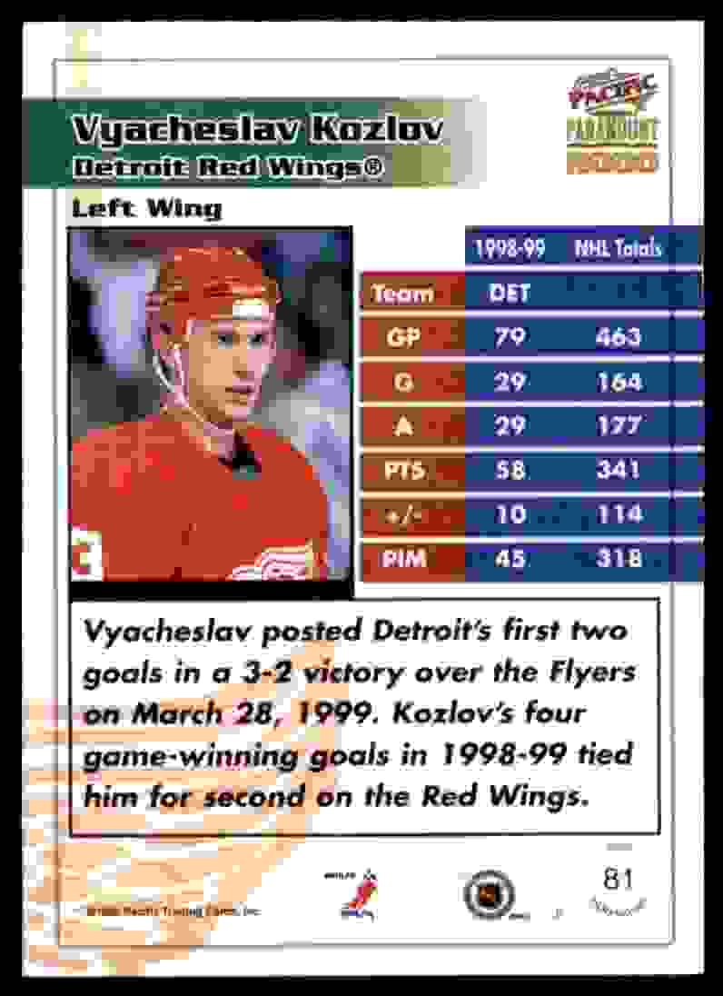 1999-00 Pacific Paramount Ice Blue Vyacheslav Kozlov #81 card back image
