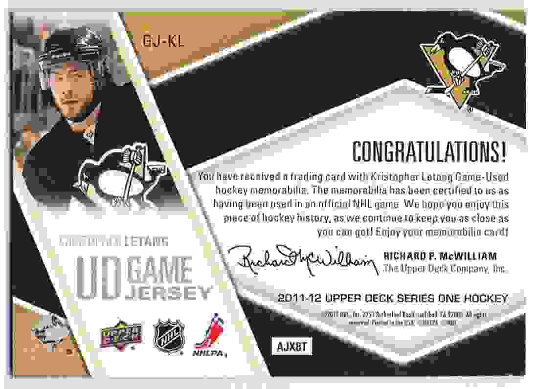 2011-12 Upper Deck Upper Deck Game Jersey Kristopher Letang #GJ-KL card back image