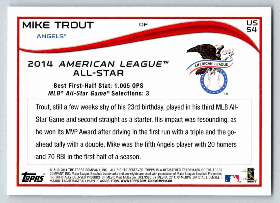 2014 Topps Update Mike Trout #US54 card back image