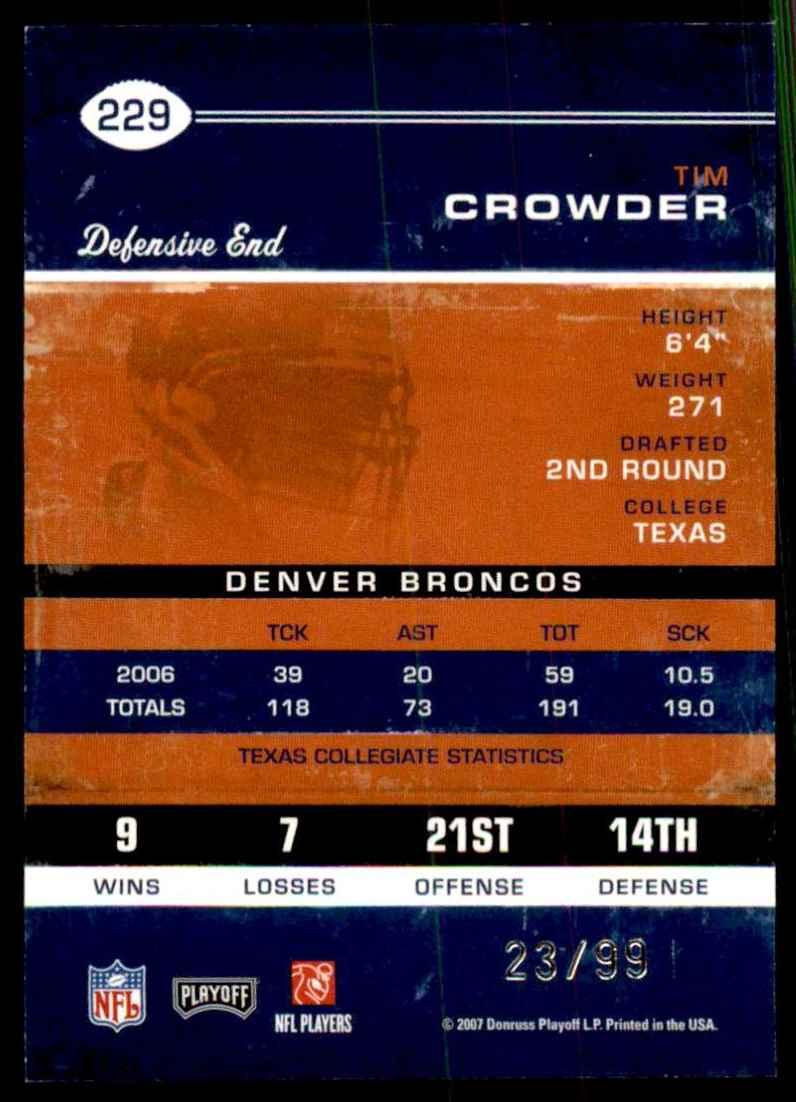 2007 Playoff Contenders Playoff Ticket Tim Crowder #229 card back image