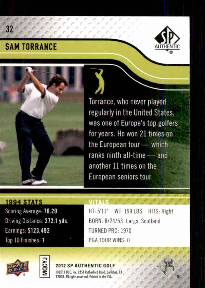 2012 SP Authentic Sam Torrance #32 card back image