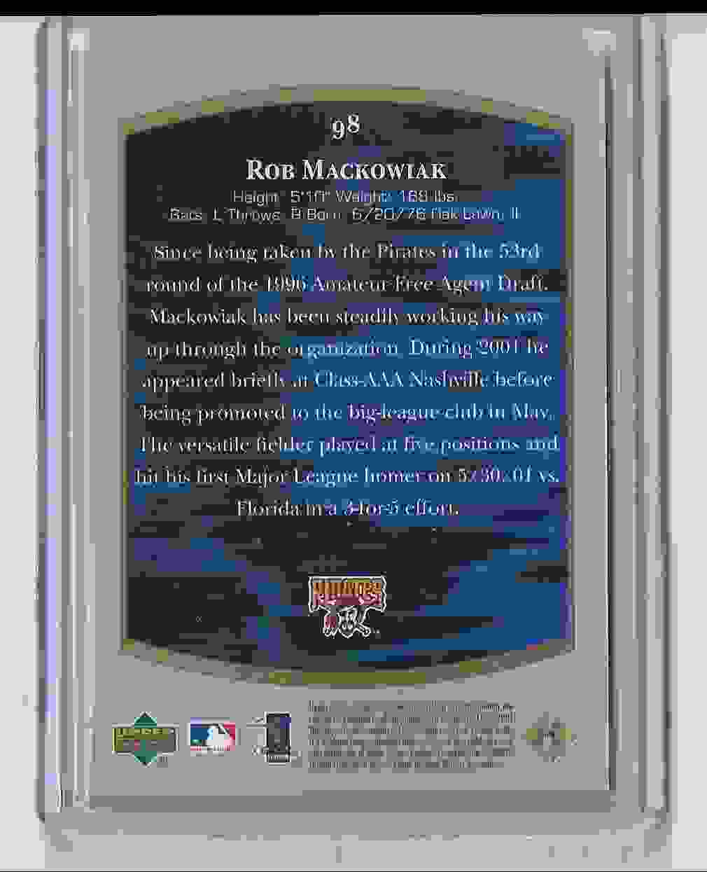 2001 Ultimate Collection Rob Mackowiak #98 card back image