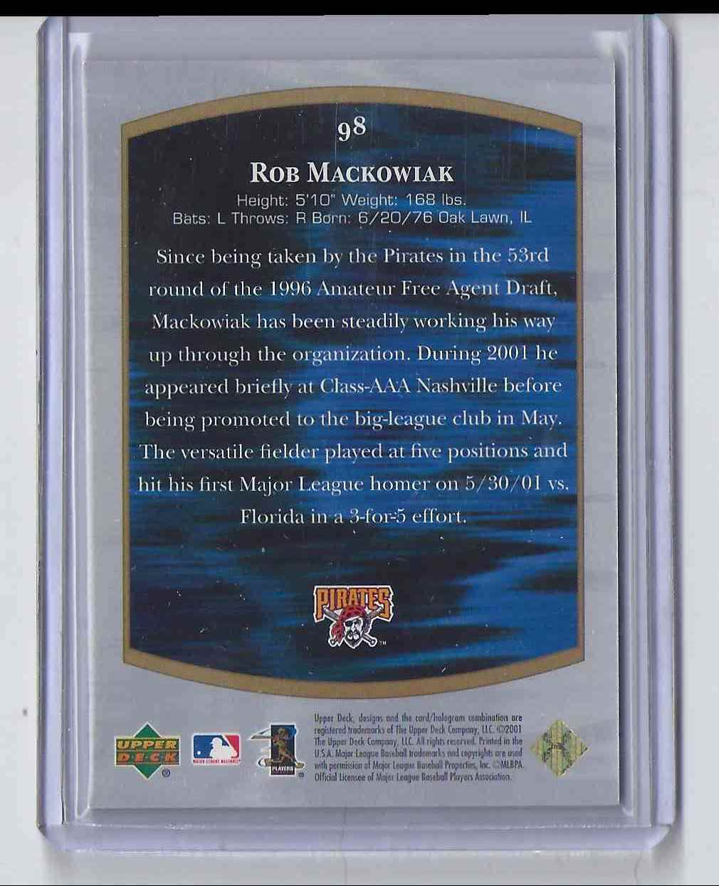 2001 Ultimate Collection Rob Mackowiak #98 card back image