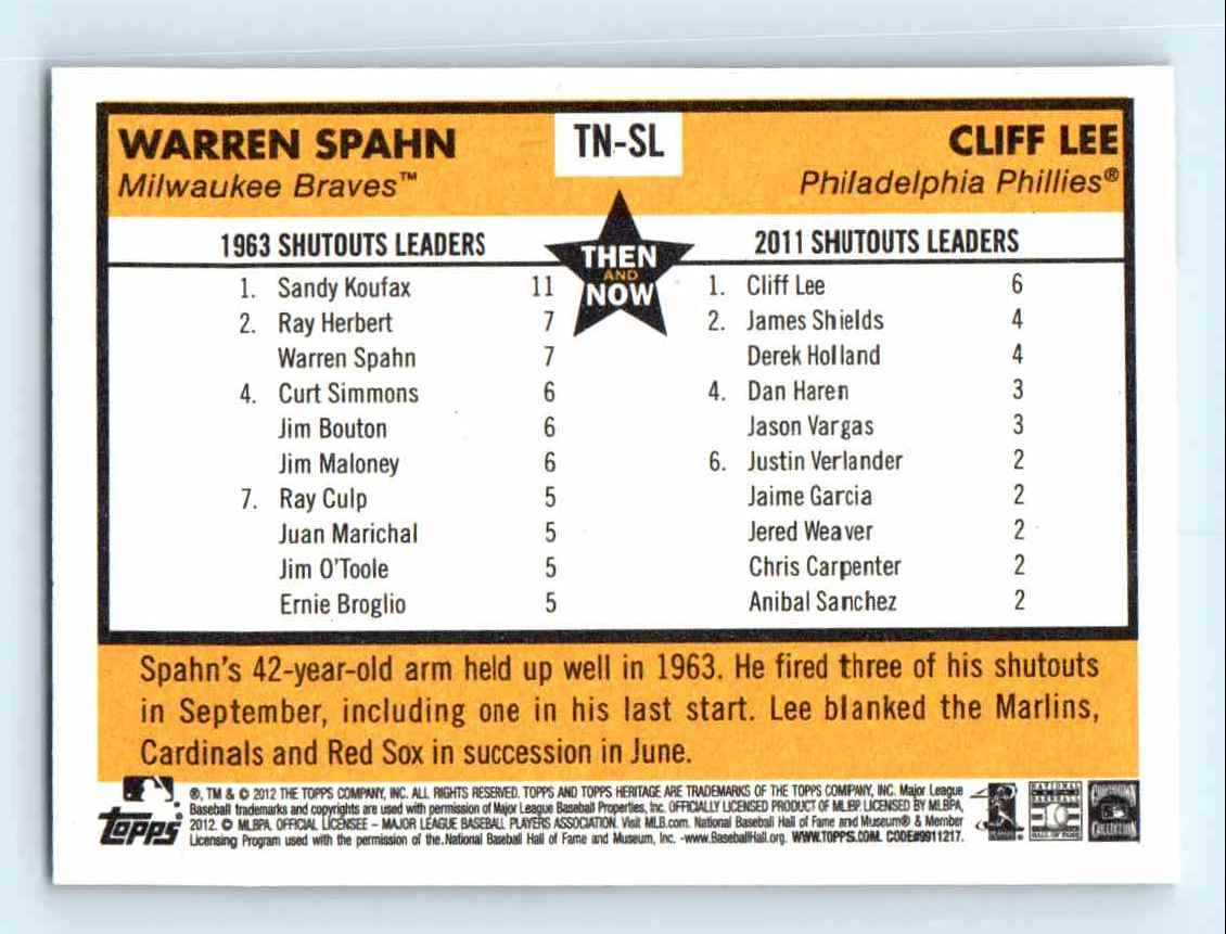2012 Topps Heritage Baseball Flashbacks Warren Spahn Cliff Lee #TN-SL card back image