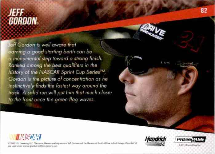 2014 Press Pass Jeff Gordon #82 card back image