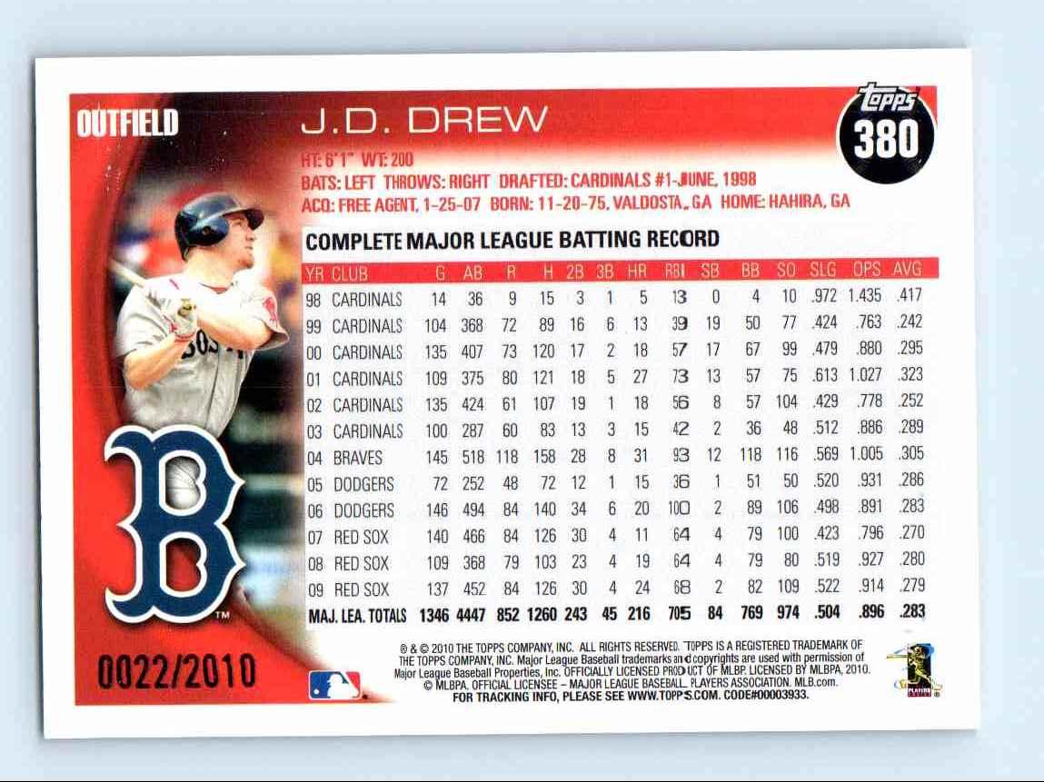 2010 Topps Gold Border J.D. Drew #380 card back image