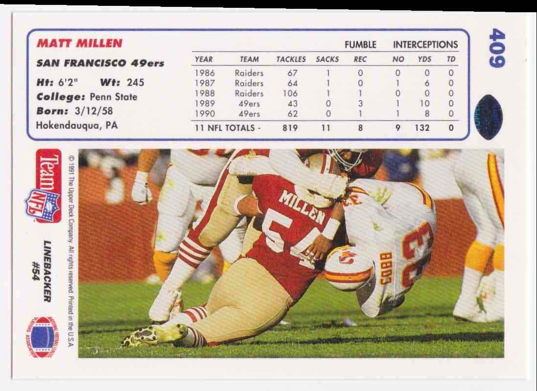 1991 Upper Deck Matt Millen #409 card back image
