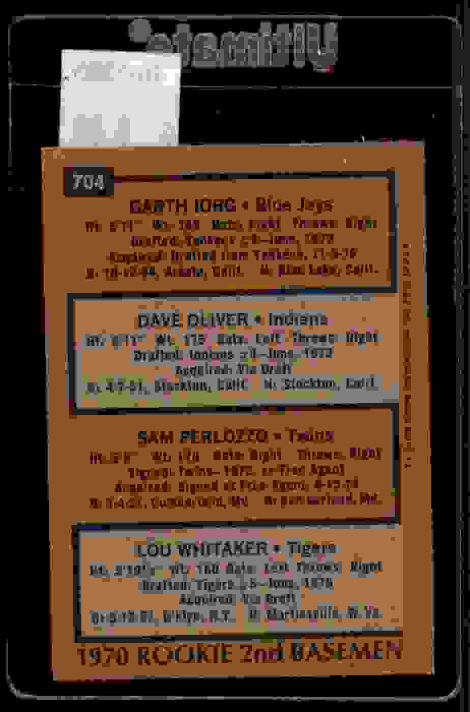 1978 Topps Lou Whitaker Dave Oliver Sam Perlozzo Garth Iorg #704 card back image