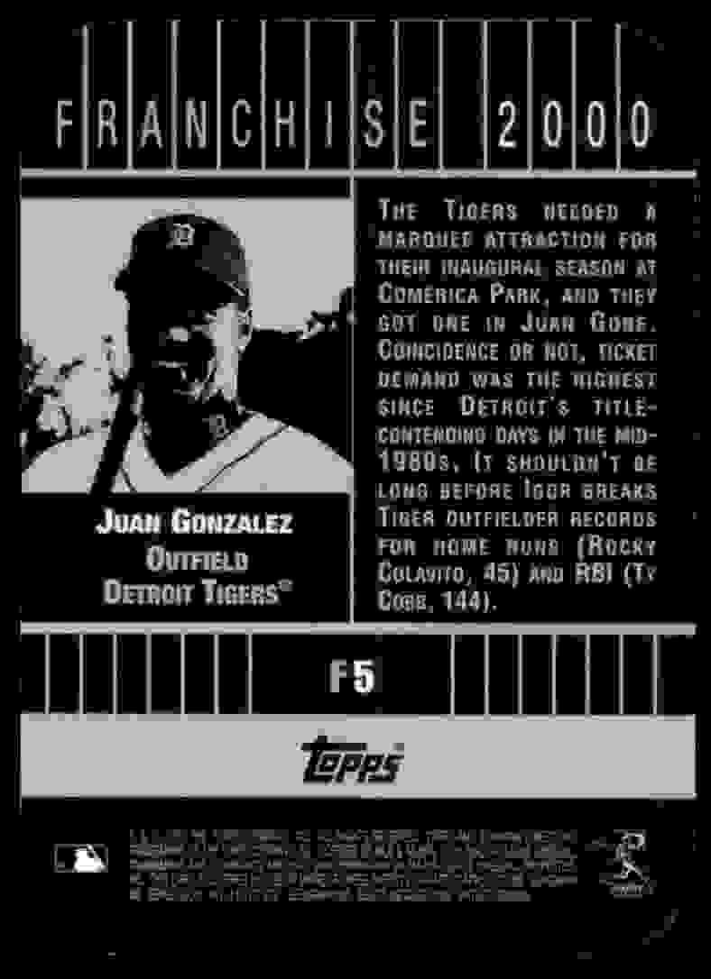 2000 Bowman's Best Franchise 2000 Juan Gonzalez #F5 card back image