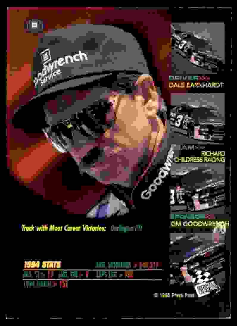 1995 Vip Dale Earnhardt #9 card back image