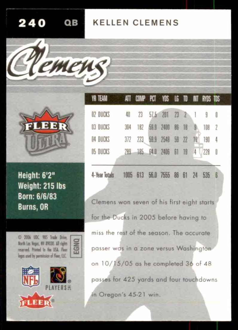 2006 Ultra Kellen Clemens RC #240 card back image