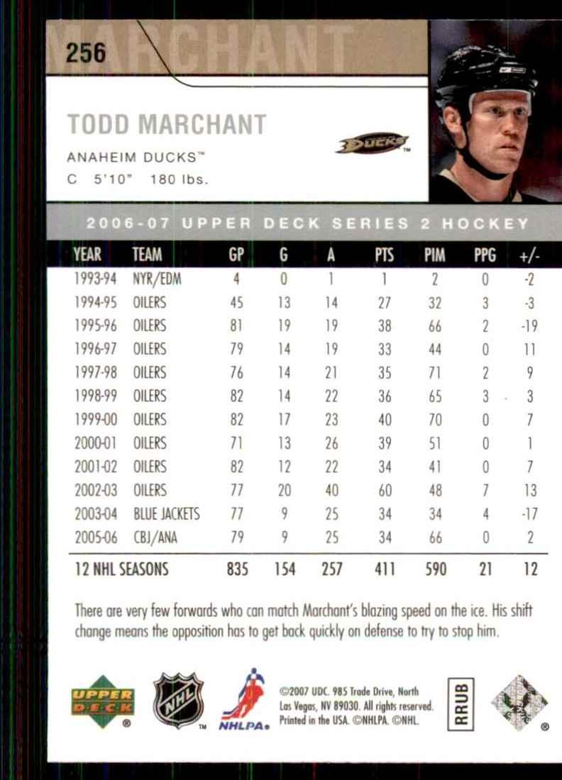 2006-07 Upper Deck Todd Marchant #256 card back image