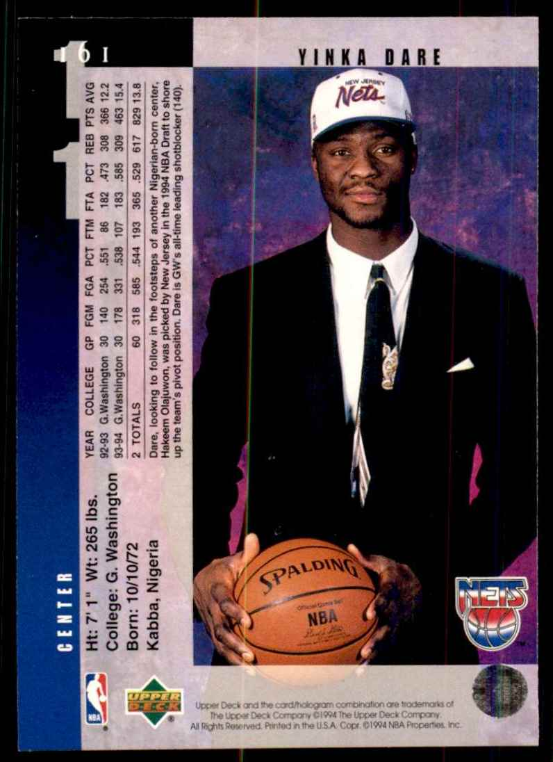 1994-95 Upper Deck Yinka Dare RC #161 card back image