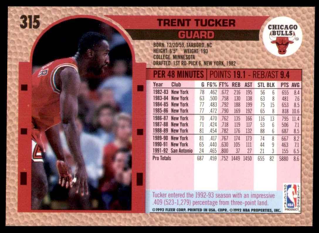 1992-93 Fleer Trent Tucker #315 card back image