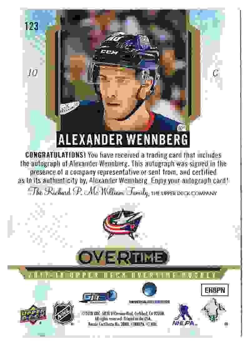 2017-18 UD Overtime Autograph Alexander Wennberg #123 card back image