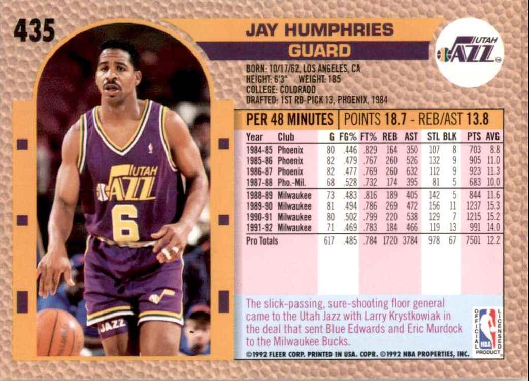 1992-93 Fleer Jay Humphries #435 card back image