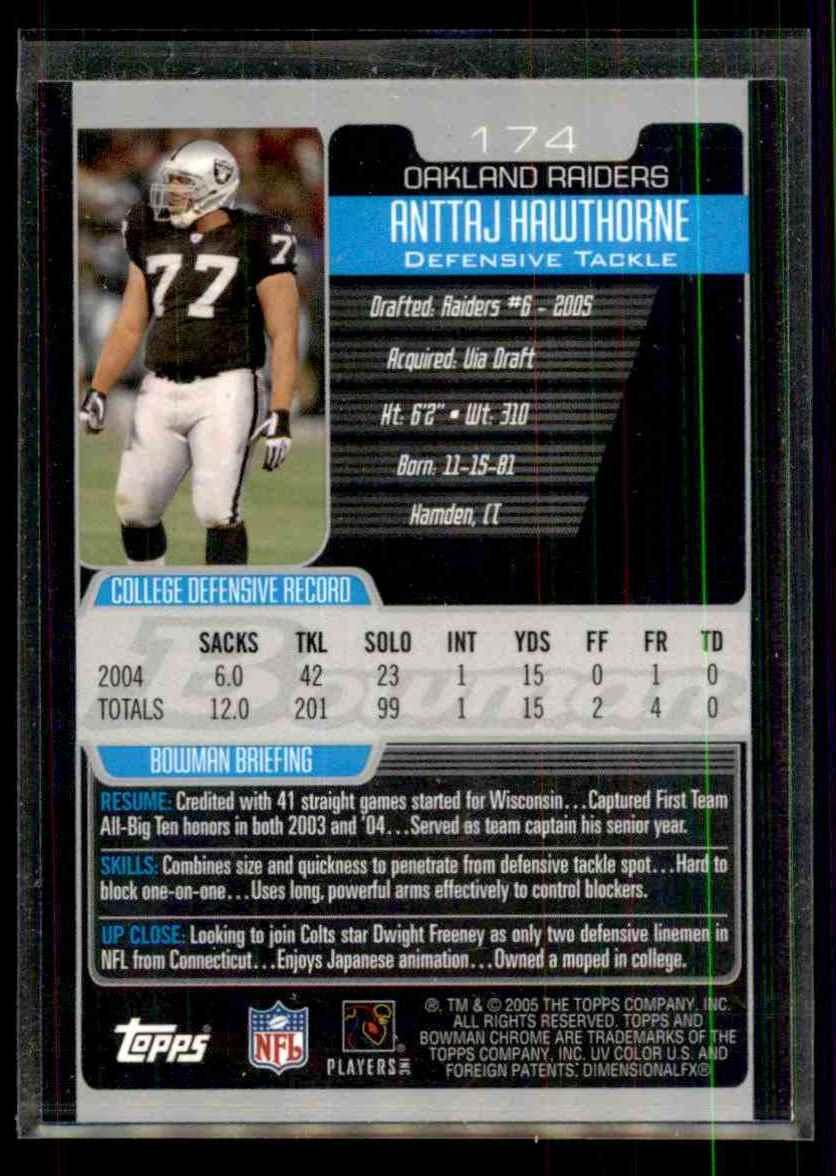 2005 Bowman Chrome Anttaj Hawthorne RC #174 card back image