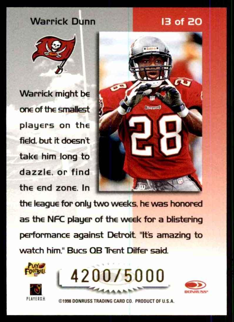 1998 Leaf Rookies & Stars Touchdown Club Warrick Dunn #13 card back image