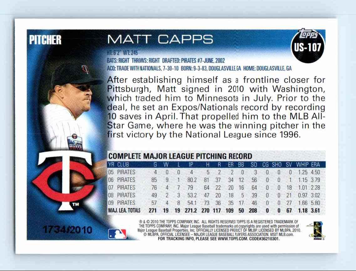 2010 Topps Update Gold Border Matt Capps #US-107 card back image