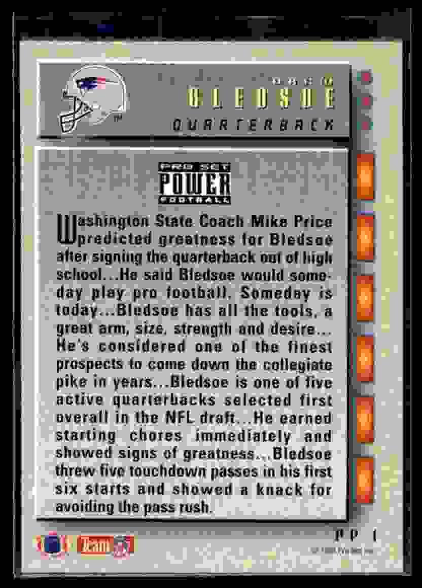 1993 Power Update Drew Bledsoe #PP1 card back image