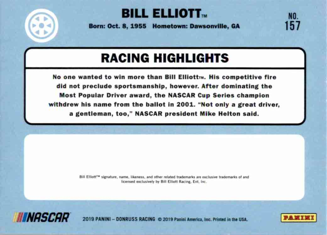 2019 Donruss Silver Bill Elliott Retro #157 card back image