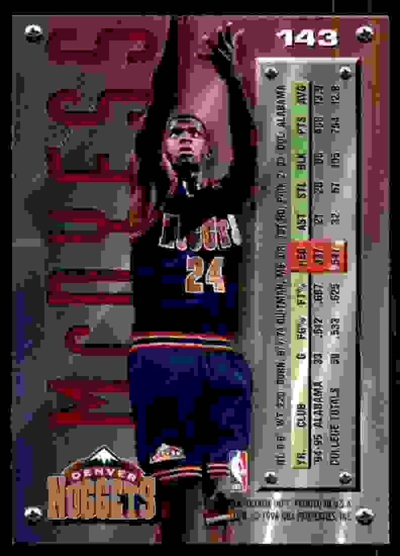 1995-96 Fleer Metal Antonio McDyess RC #143 card back image