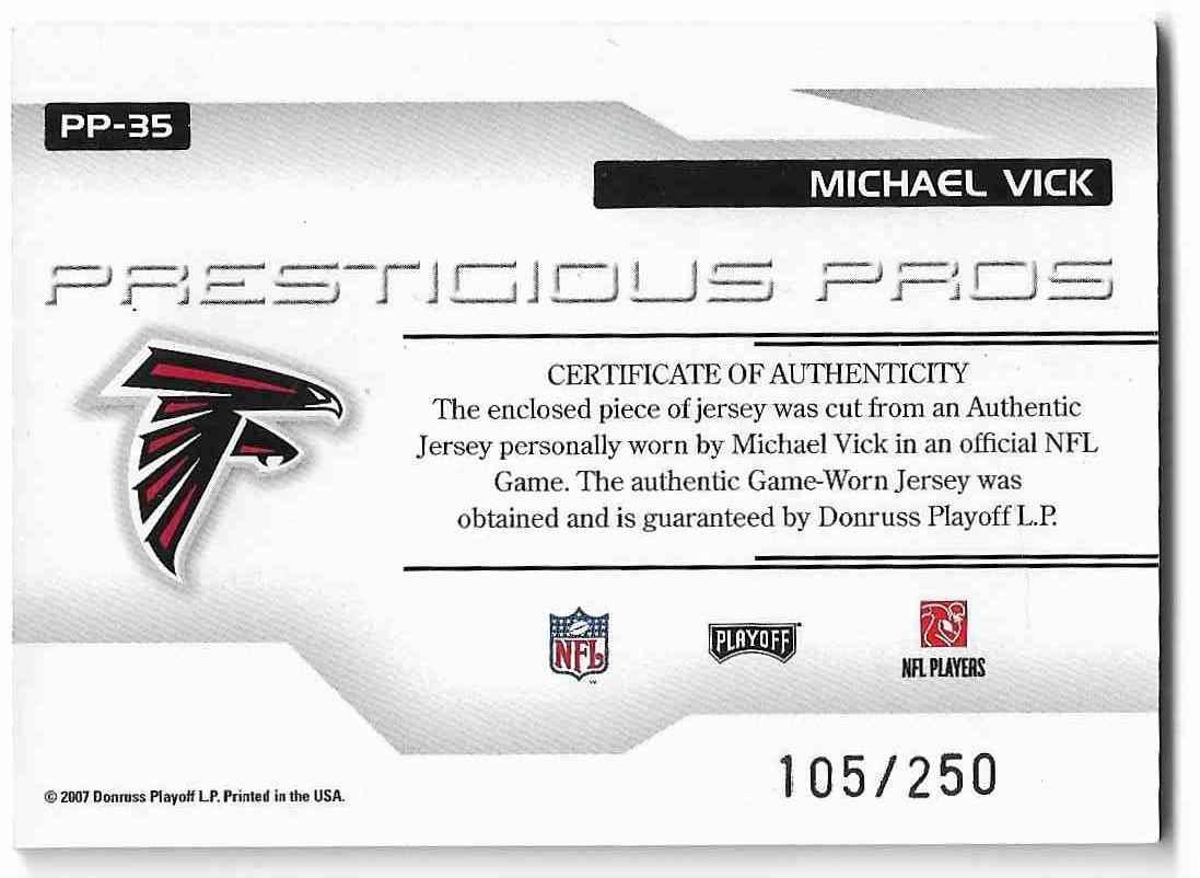 2005 Playoff Prestige Michael Vick #PP-35 card back image