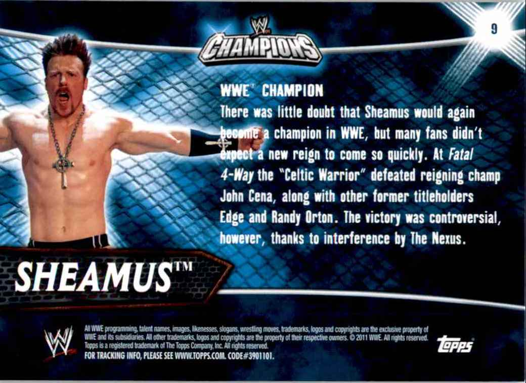 2011 Topps Wwe Champions Sheamus #9 card back image