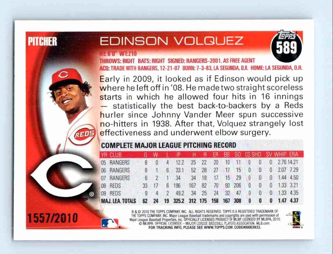 2010 Topps Gold Border Edinson Volquez #589 card back image