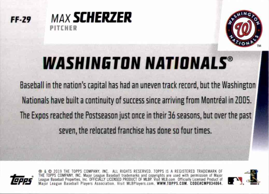 2019 Topps Franchise Feats Max Scherzer #FF29 card back image
