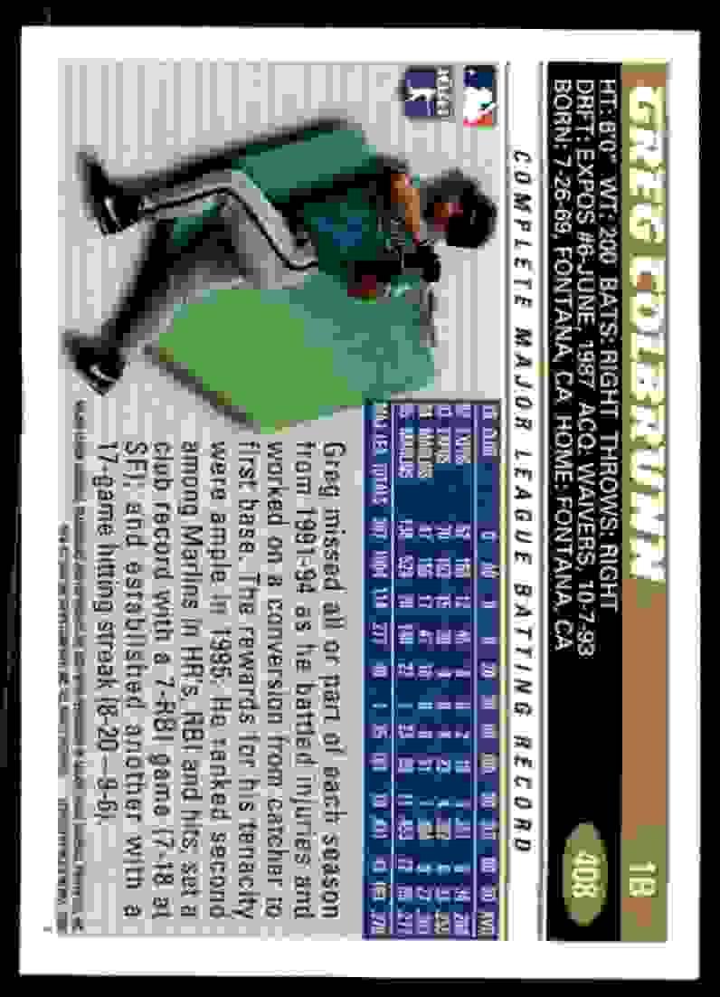 1996 Topps Greg Colbrunn #408 card back image