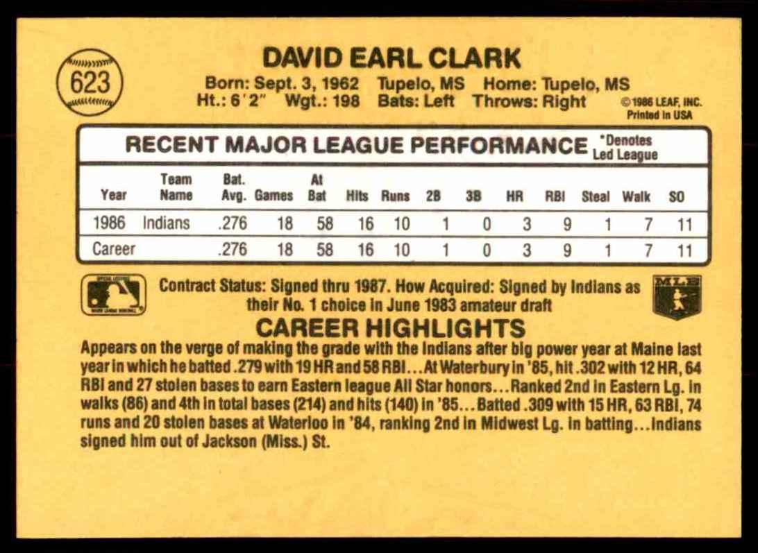 1987 Donruss Dave Clark #623 card back image