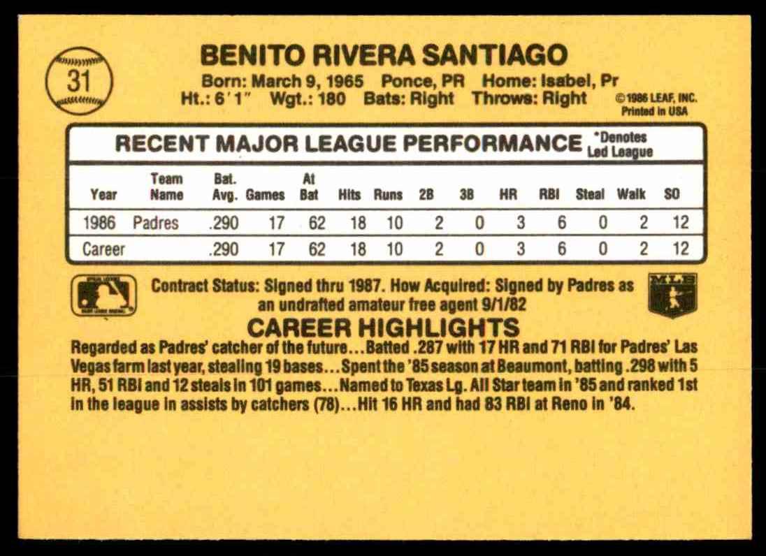 1987 Donruss Benito Santiago #31 card back image