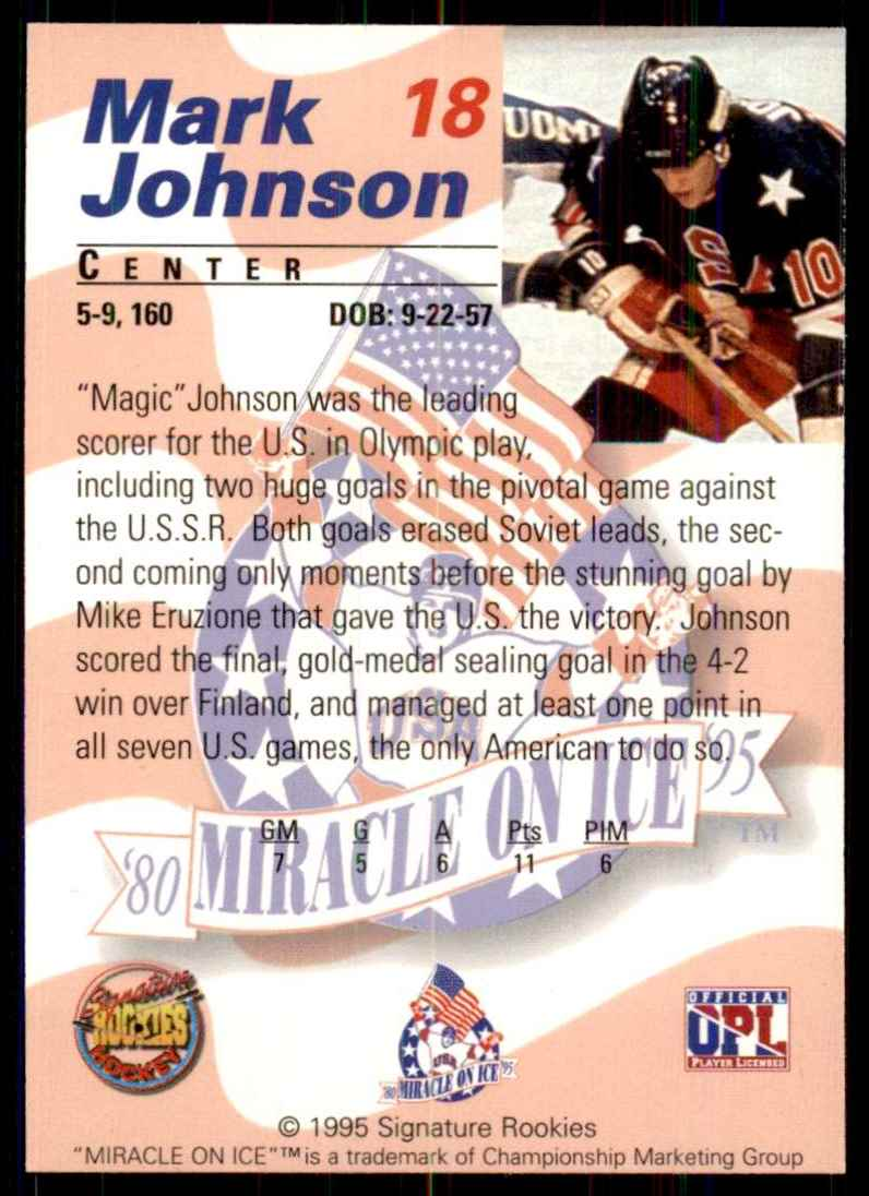 1995-96 Signature Rookies Miracle On Ice Mark Johnson #18 card back image