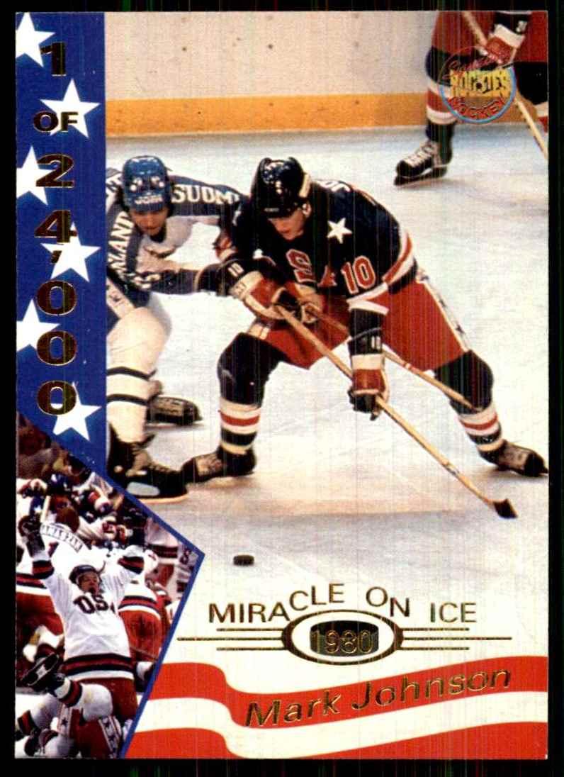 1995-96 Signature Rookies Miracle On Ice Mark Johnson #18 card front image