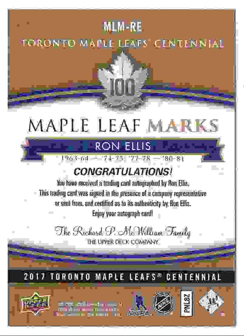 2017-18 Upper Deck Marks Centannial Autographs Ron Ellis #MLM-RE card back image