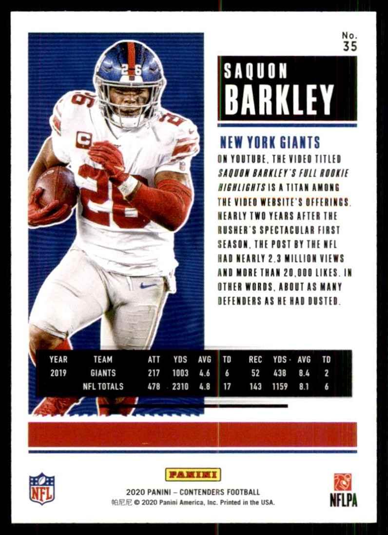 2020 Panini Contenders Saquon Barkley #35 card back image